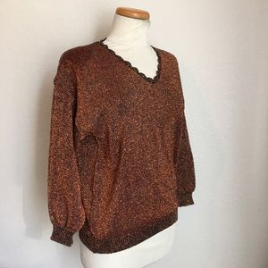 Sweaters - Copper Sparkle Lurex Holiday Sweater size M